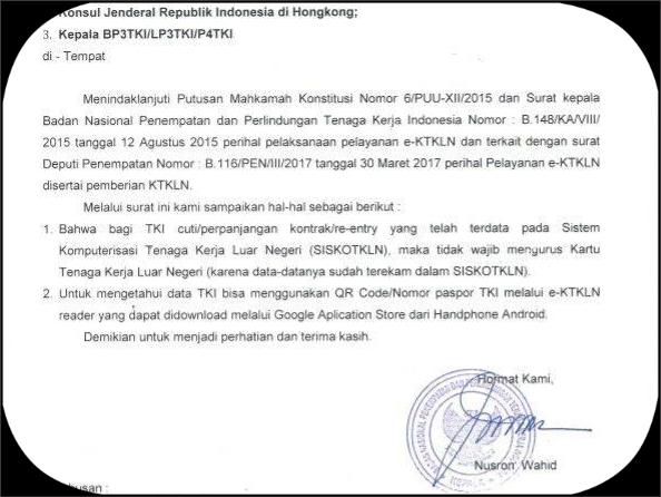 Kebijakan Bnp2tki Terkait E Ktkln Bagi Bmi Re Entrycuti Sbmi